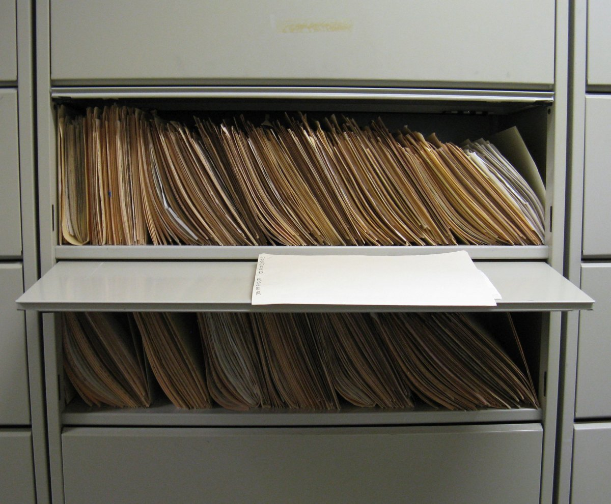 Biographical cuttings file drawer