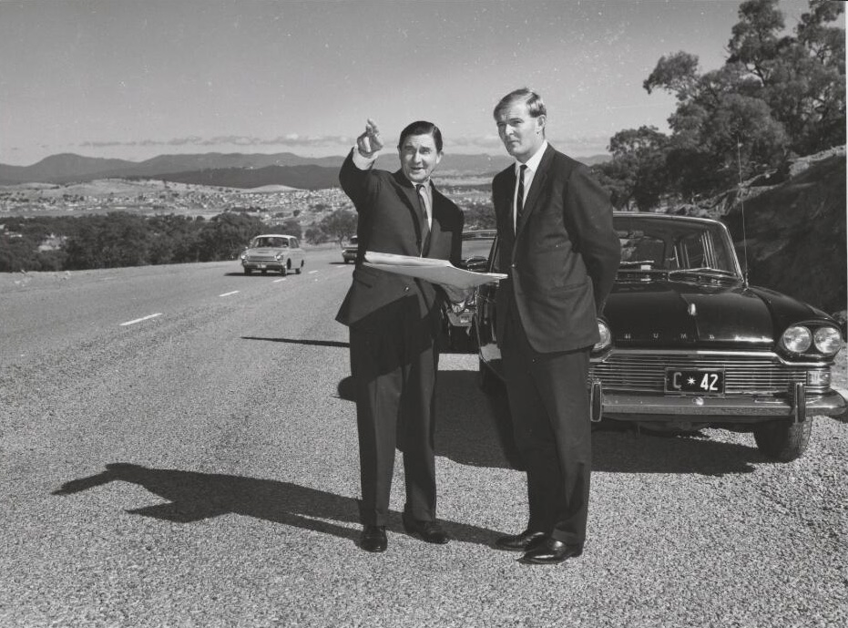 Photograph of John Overall and Doug Anthony on Hindmarsh Drive in 1967