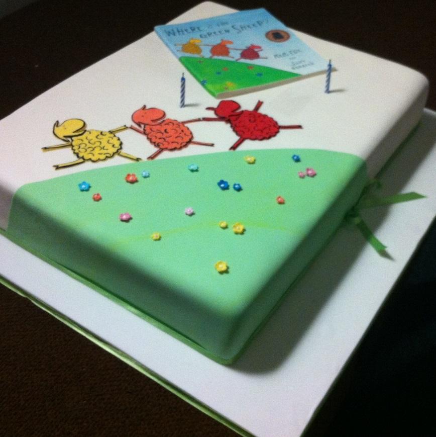 Green Sheep Birthday Cake