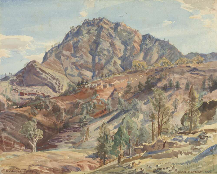Watercolour painting of hills
