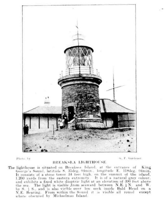 Newspaper cutting showing the Breaksea Lightohouse