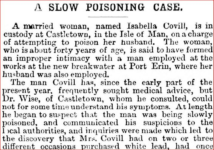 British newspapers V article titled 'A slow poisoning case'