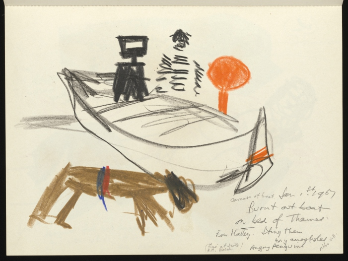 Sketch of Ned Kelly, penguin and Moon Boy in a burned out boat with Mrs Fraser on the shore