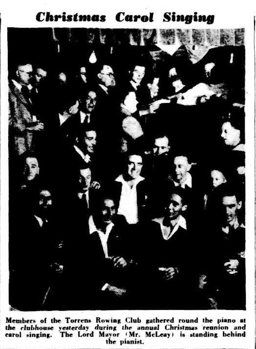 Clipping from newspaper of carollers singing