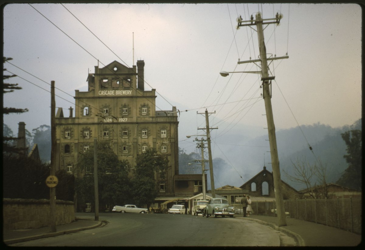 Photograph of the Cascade Brewery in the 1967 bushfire
