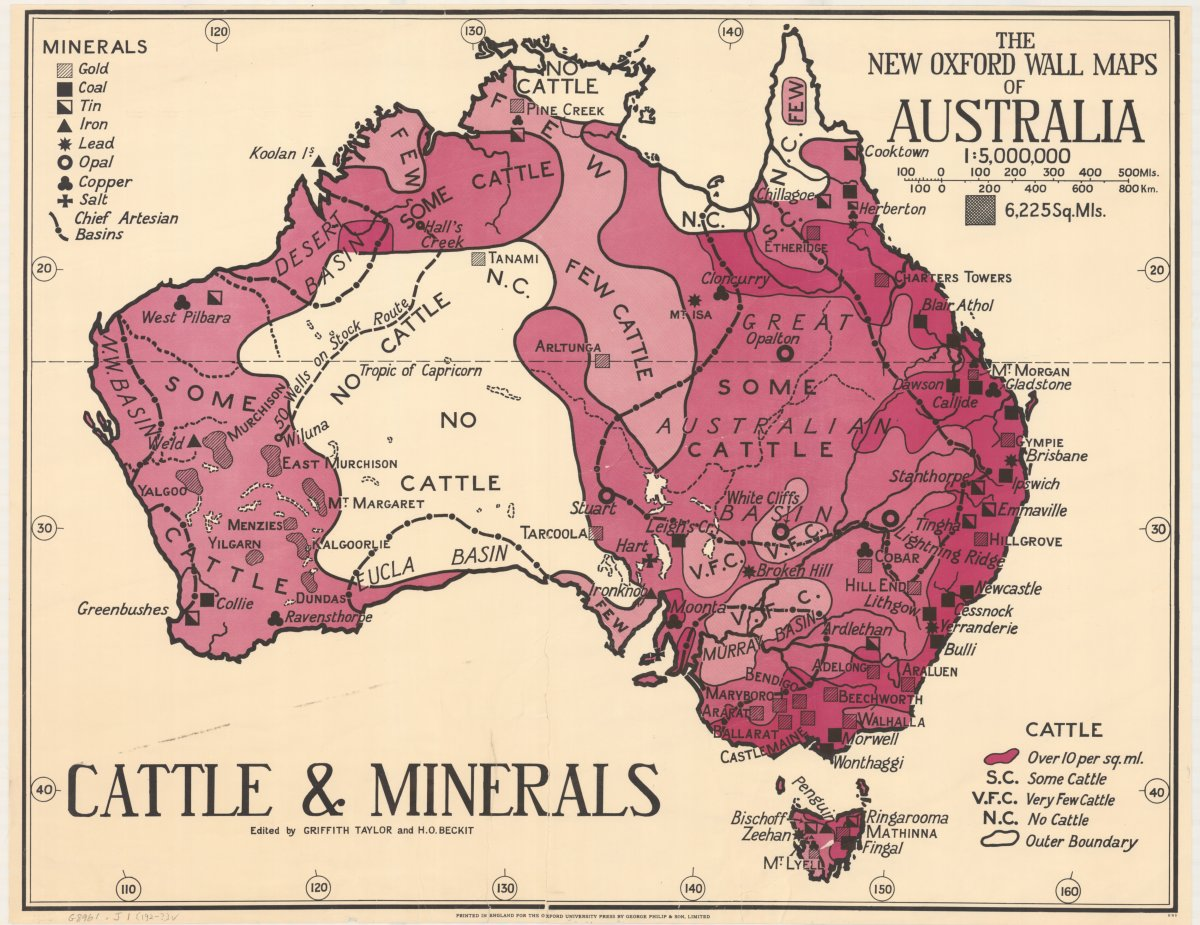 Taylor, Thomas Griffith & Beckit, H. O. (192-?]). The new Oxford wall maps of Australia http://nla.gov.au/nla.obj-255201355