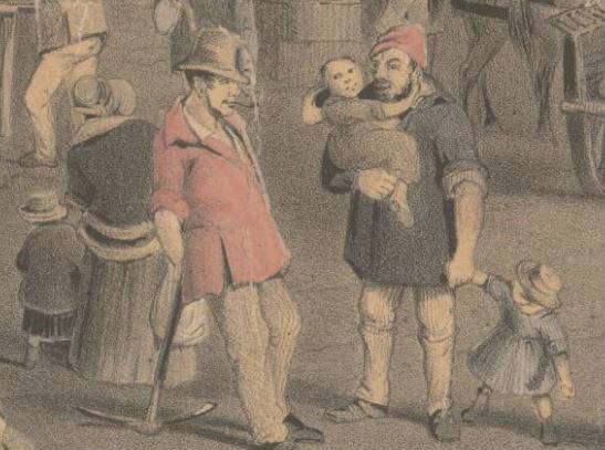 Detail of children with parents in settlement