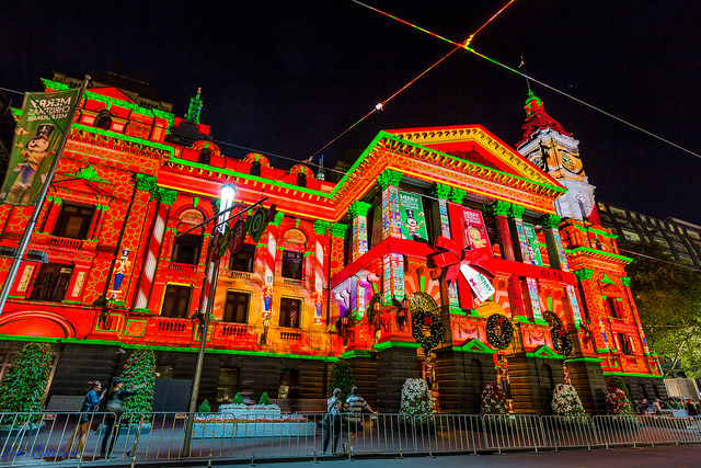 Christmas lights, Melbourne Town Hall, Victoria Australia