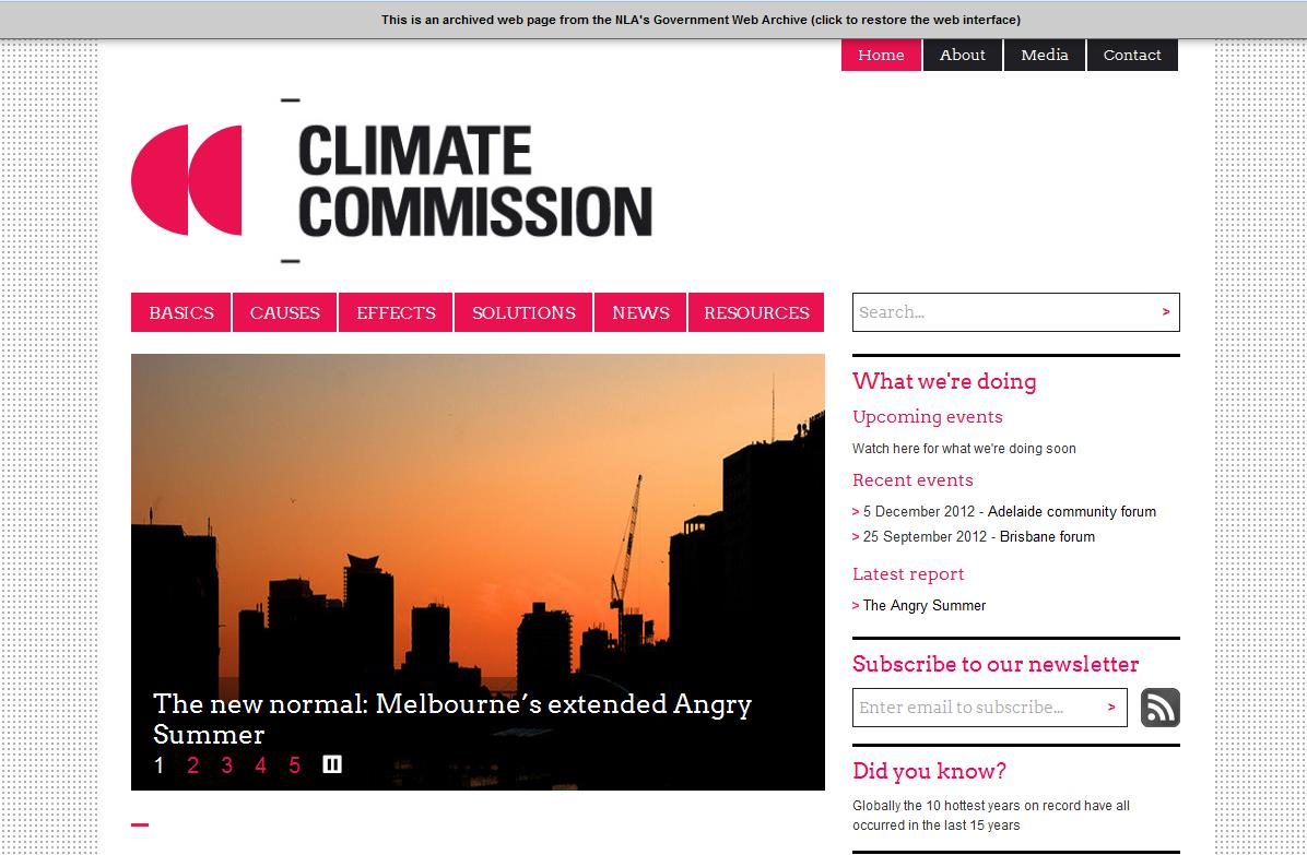 Climate Commission website in AGWA