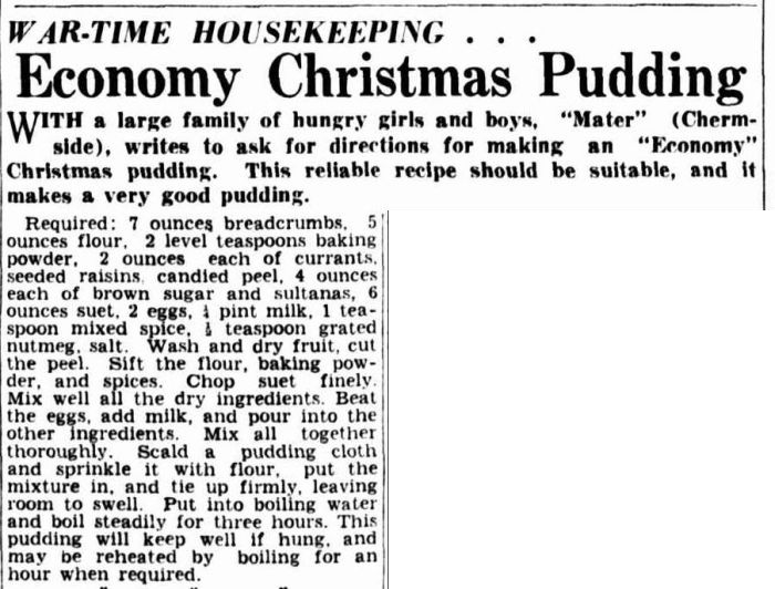 Recipe for Economy Christmas Pudding