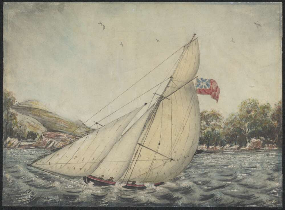 The cutter yacht Susan in a race on the Parramatta River, Sydney, New South Wales, 29th Jan. 1848