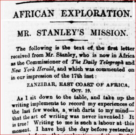 Daily Telegraph article titled 'African exploration'