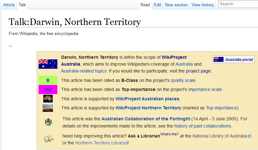 Talk page (detail) of the Wikipedia article on Darwin, Northern Territory