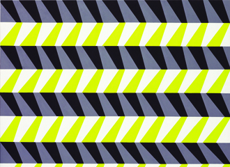 black, grey, white and lime geometric markings