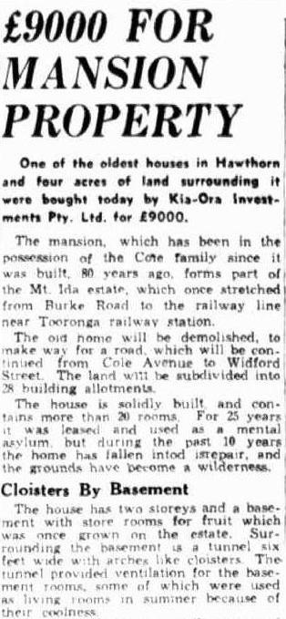 £9000 for mansion property, page 2 in The Herald, 22 November 1935. nla.news-article244770878
