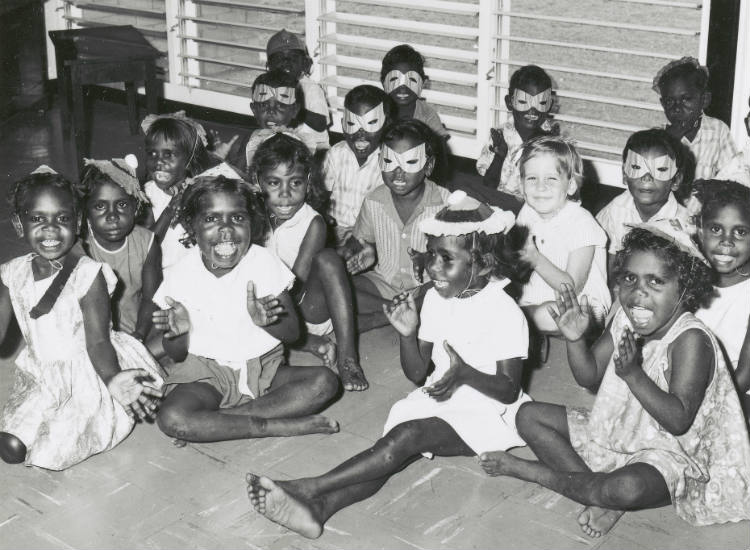 Group of Aboriginal children attending a Christmas party in Darwin, Northern Territory, ca. 1955