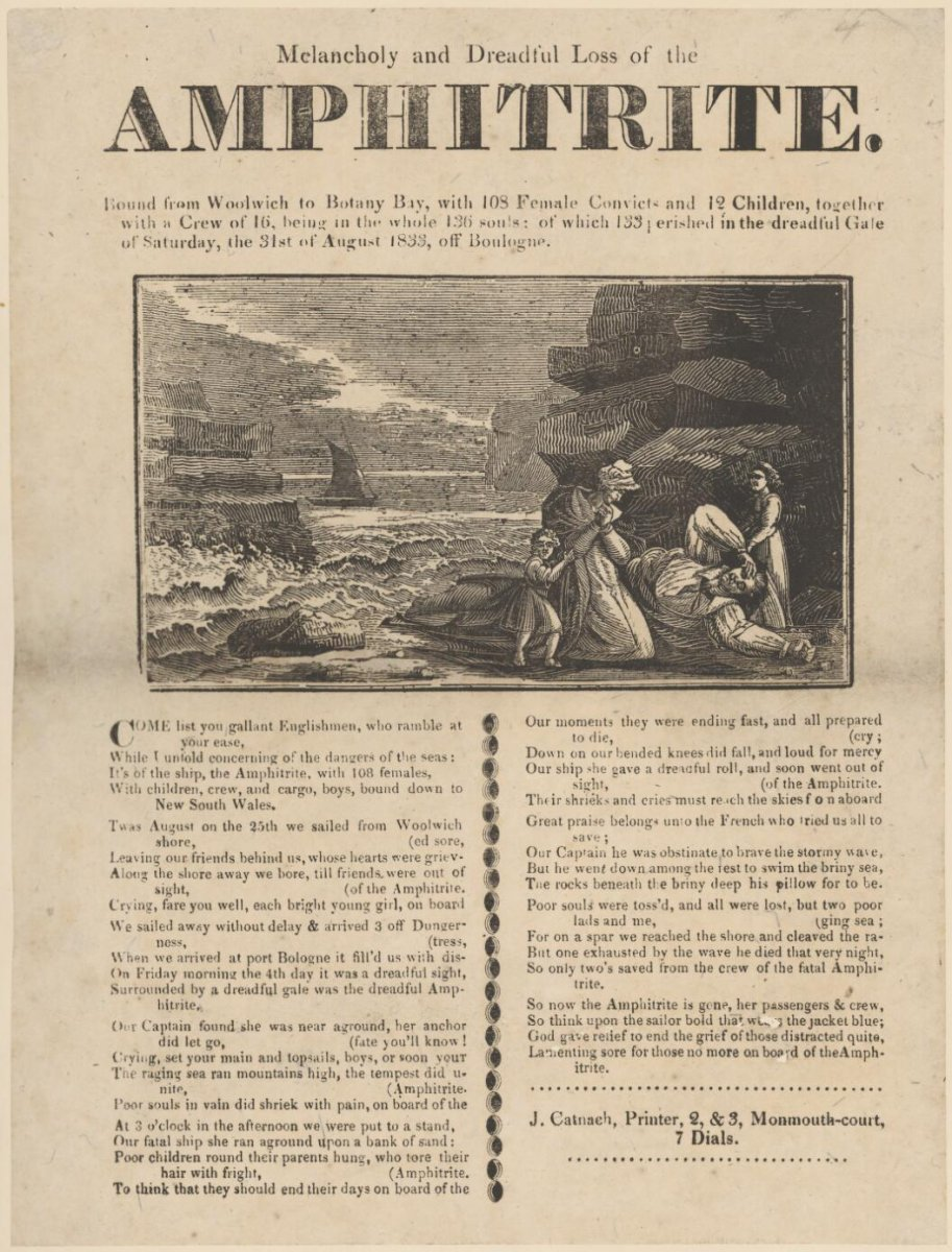 image of 1833 broadside featuring verse and drawing of the wreck