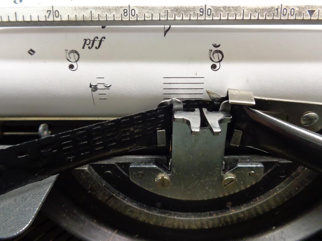 Music typewriter in action.