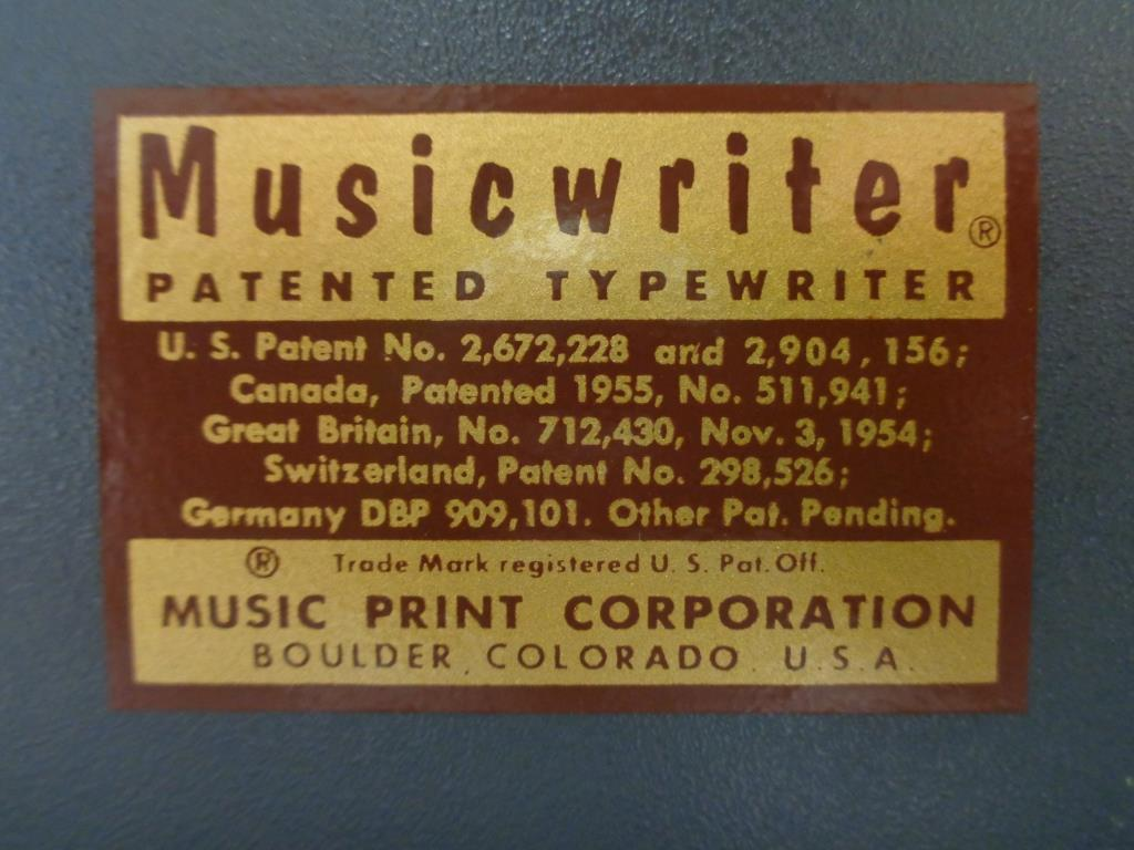 Musicwriter patent lable.