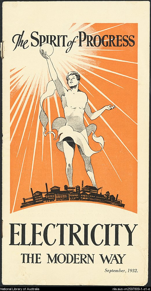Image from The Spirit of Progress - electricity the modern way. A  brochure from the LIbrary's Ephemera collection.