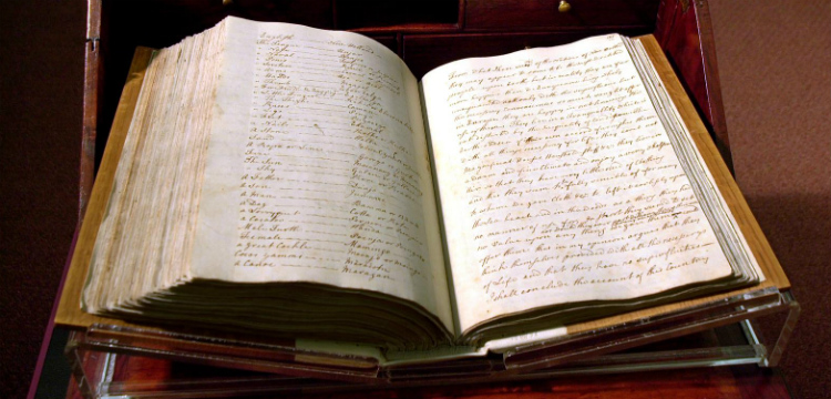 Captain Cook's Endeavour Journal open on display