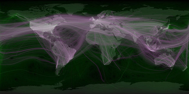 Eric Fischer world map showing travel and communications, as recorded by Twitter, 2011