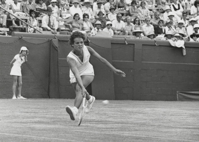 Evonne Goolagong playing in the Australian Open Tennis Championships, Melbourne, 1 January 1967