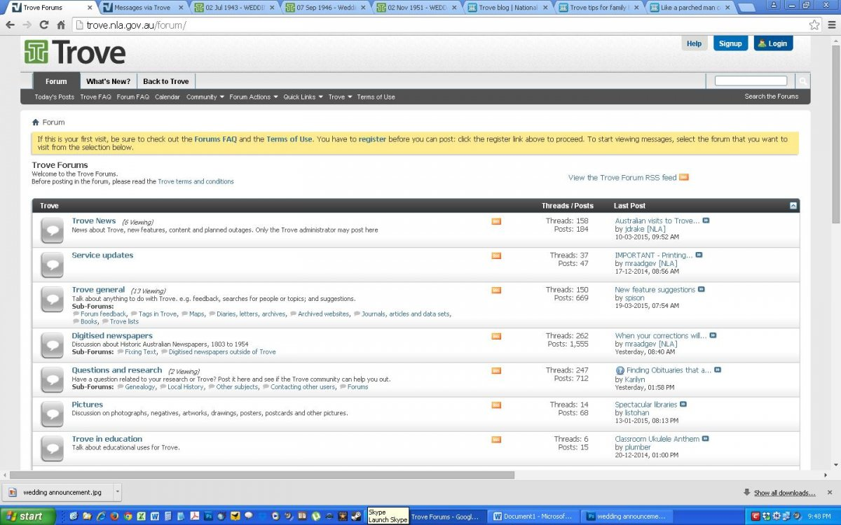 Screenshot of the Trove Forum homepage