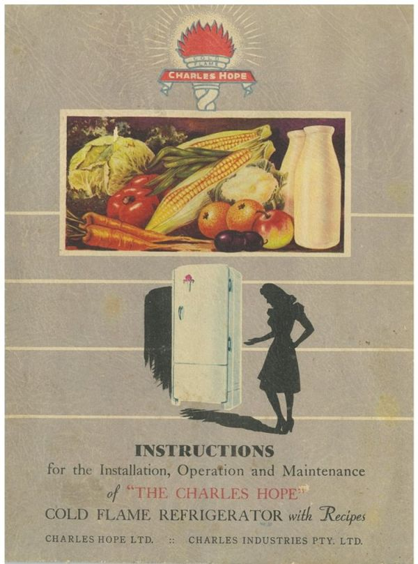 Illustration of fruit and vegetables in fridge drawer and illustration of a woman opening a fridge