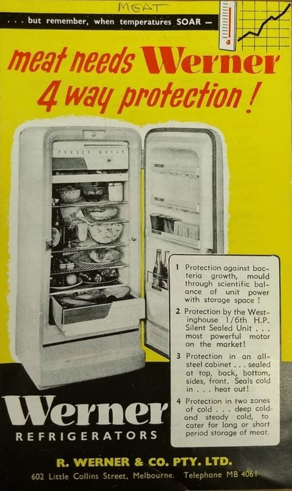 Illustration of open fridge containing food