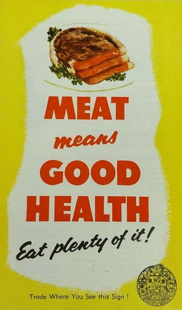 Illustration of cuts of meat with slogan 'Meat means good health'