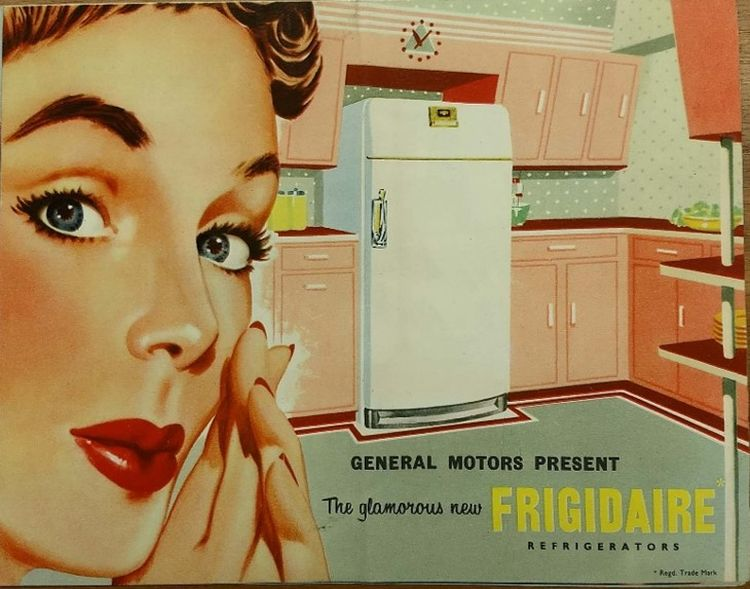 Advertisement containing illustration of woman looking at her fridge