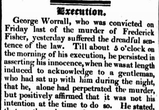 Execution notice of George Worrall