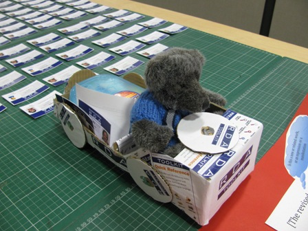 FuRBEaR (a stuffed bear) in a cardboard car with RDA related paraphanalia.