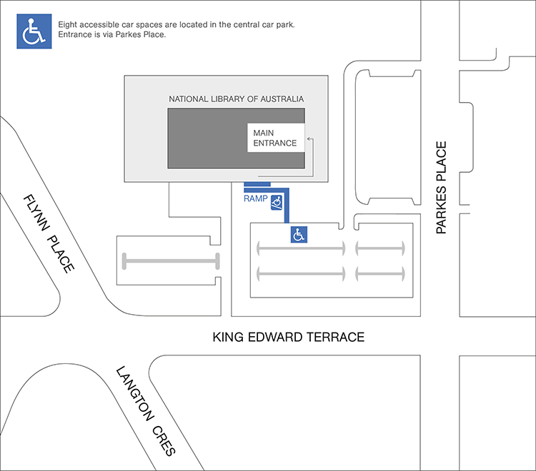 map of the library showing disabled parking and access ramp with the wording - Eight accessible car spaces are available in the carpark off Parkes Place on the south side of the building