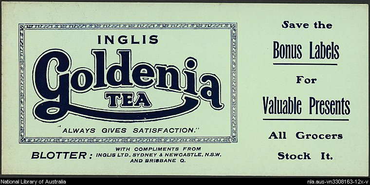 Goldenia tea blotter