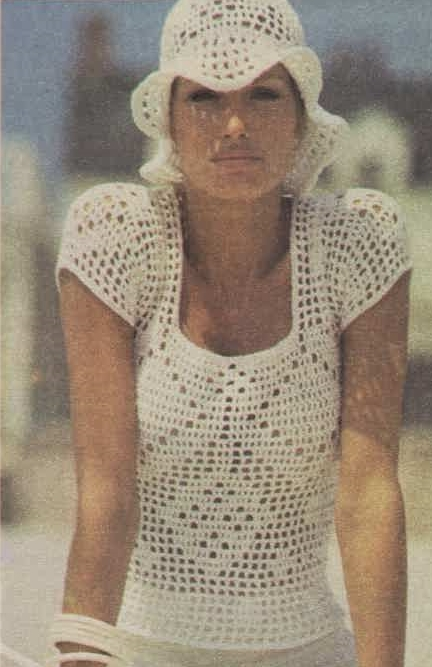 Picture of woman weaing crochet hat and top