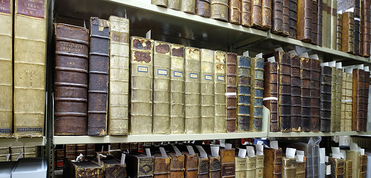 Rare books on book shelves