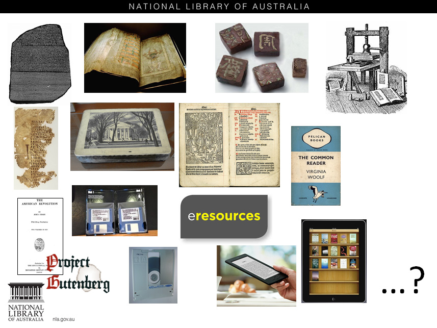 Slide showing images representing the history of the book - from the rosetta stone, through the early codex, moveable type in China, the Gutenberg Press, the lithographic stone, the paperback novel, Project Gutenberg, floppy discs, a kindle and an ipad with a question mark at the end indicating what next?
