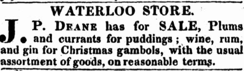 Advertisement for plums and currants for puddings