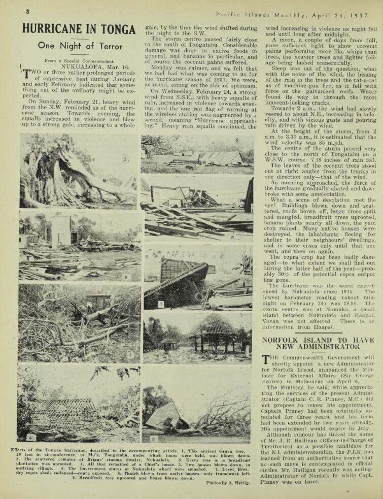 Tonga hurricane 1937