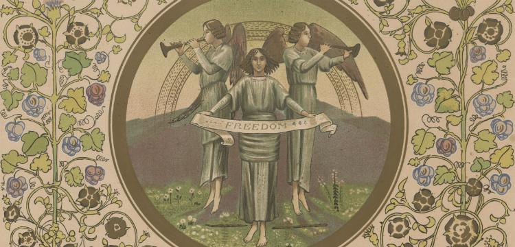 Illumination from a text, three angels playing trumpets and holding a freedom banner