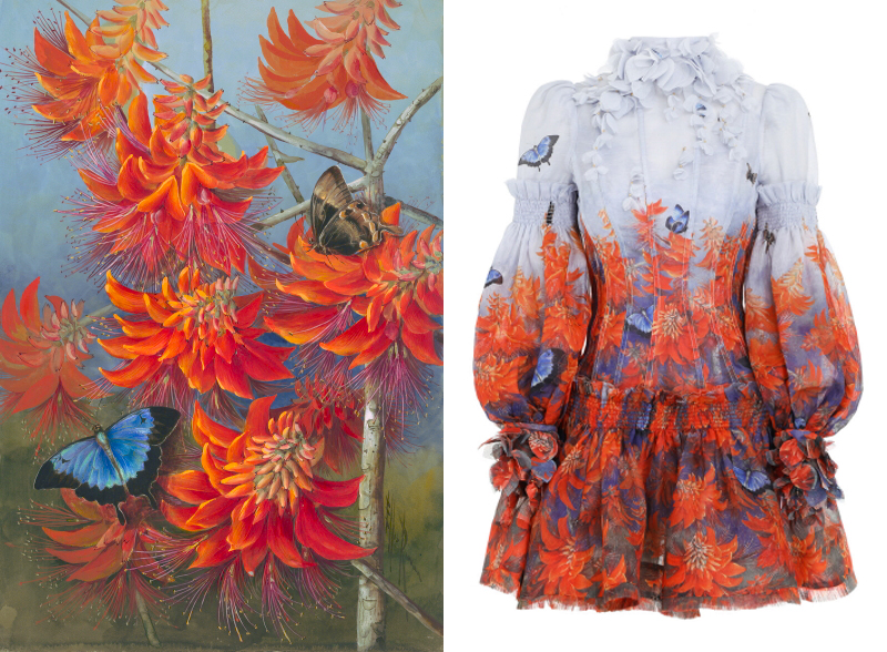 An Ellis Rowan floral artwork next to the dress featuring it