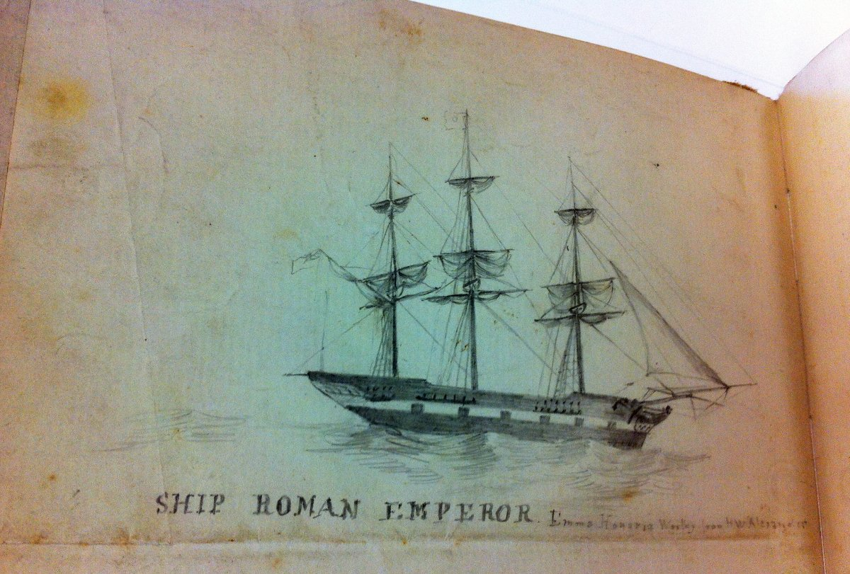 page of the book showing a ship