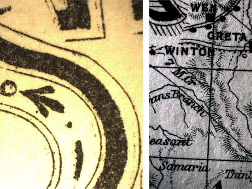 Title page printed with Lithographic Transfer Process - print appears flat and less crisp on the surface; Detail of lines used in map of Victoria. Magnification x50
