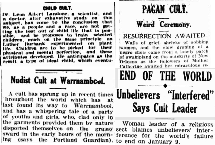 Image of four newspaper clippings regarding cults