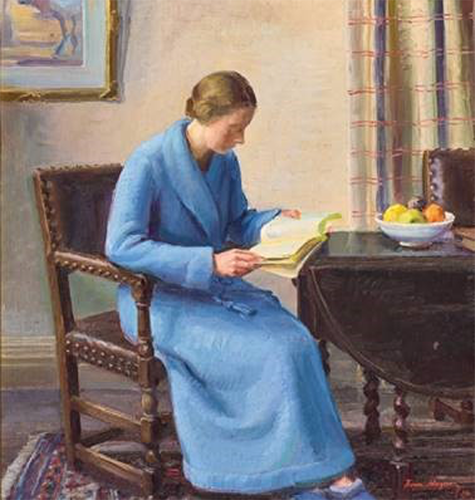 Painting of a woman seated at a table reading