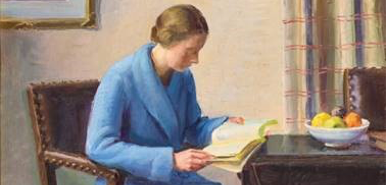 Painting of woman seated at a table, reading