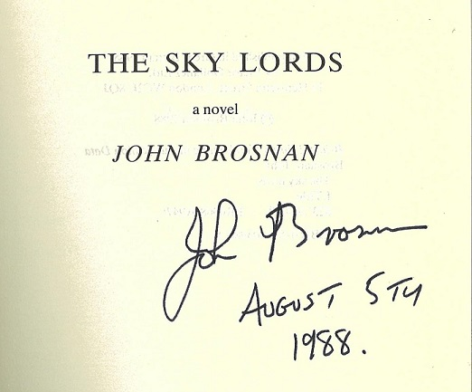 Signed copy of The Sky Lords by John Brosnan