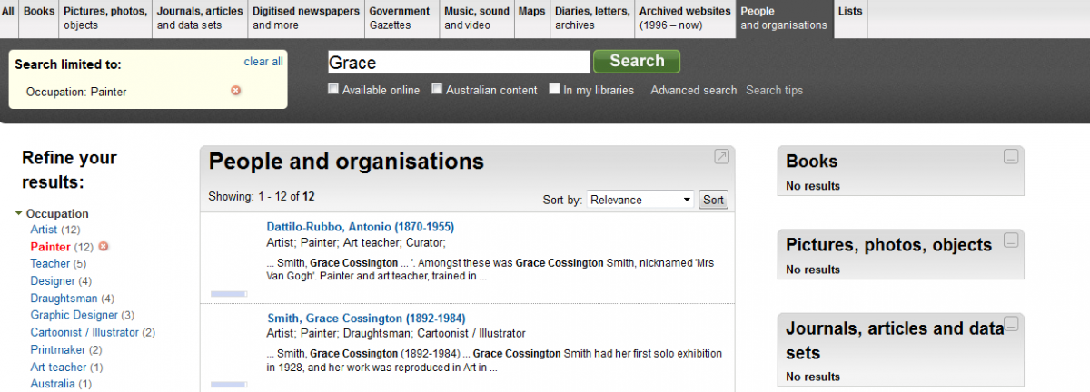 Image of search for the word Grace in Trove